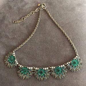 Jcrew Green Crystal Ornate Necklace